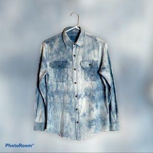 Custom Distressed Bleach Dip Dye Denim Shirt